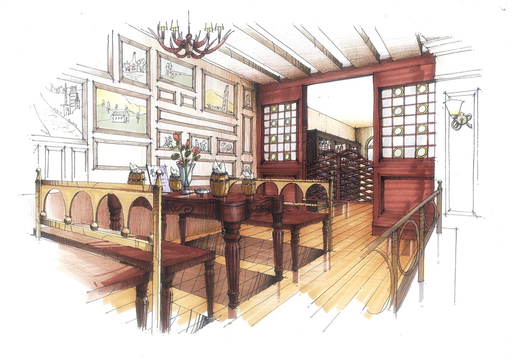 德国酒吧设计;;; 书吧设计平面图; 书吧设计手绘效果图