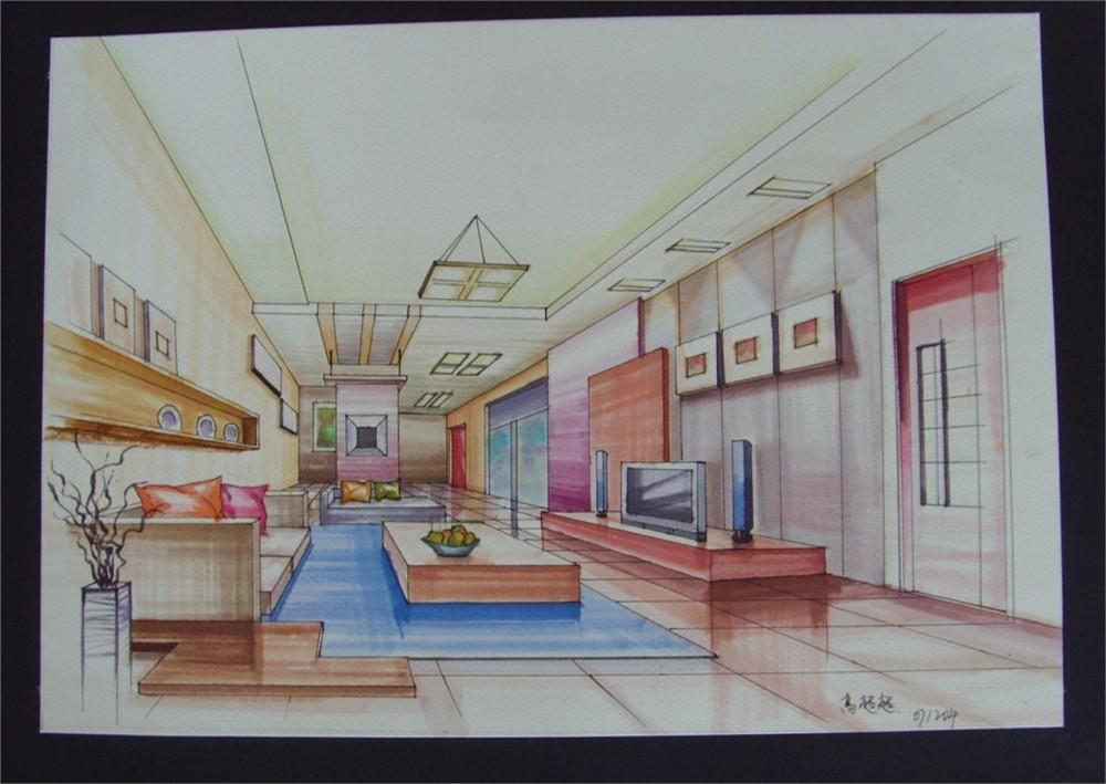 最美彩铅手绘效果图_室内彩铅手绘效果图