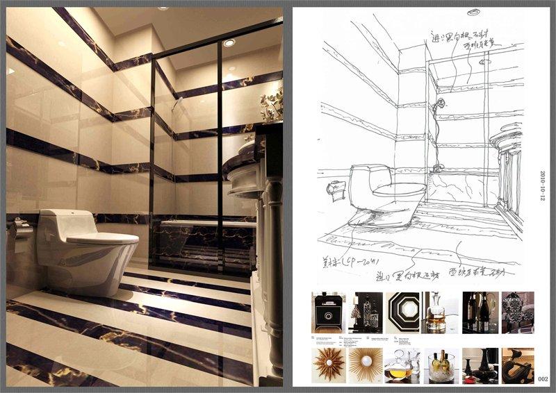 家装厕所立面图手绘