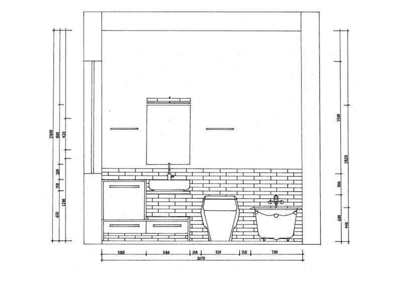 室内浴缸手绘线稿