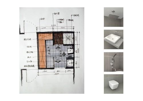 卫生间手绘线稿立面图