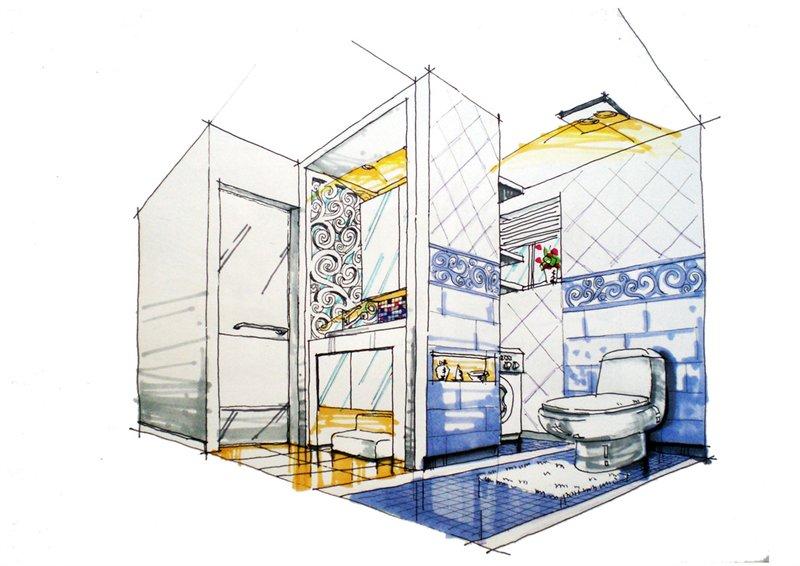 卫生间手绘立面图