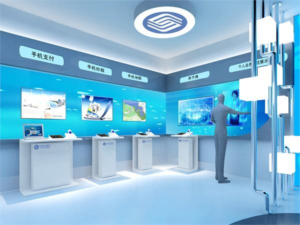 营业厅入口设计元素简洁大气,框架式大门凸显中国移动通信品牌形象