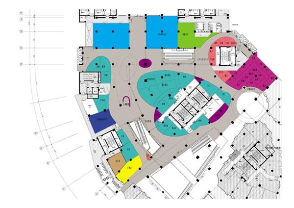 商场平面布置的灵感来源为音波的曲线; 朝阳大悦城科技 广场设计说明