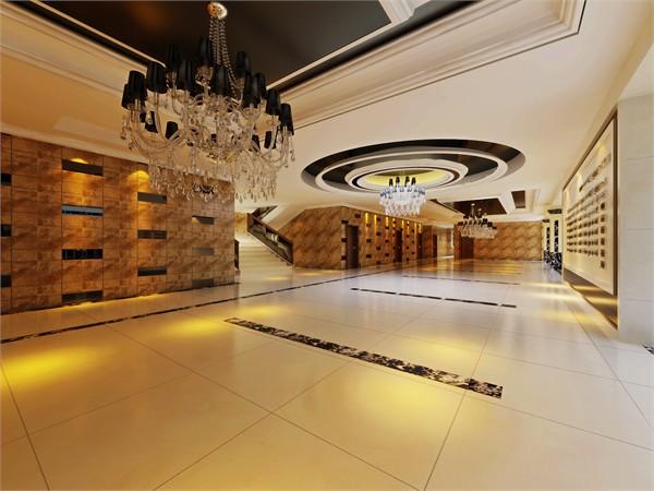 一楼大厅墙面采用深色菲网纹理石砖配合黑色烤漆镜片