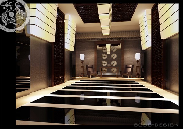 中式酒店大堂效果图