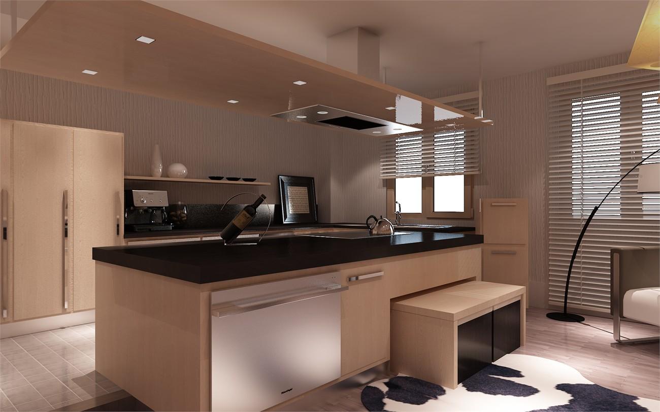 厨房高柜岛柜效果图