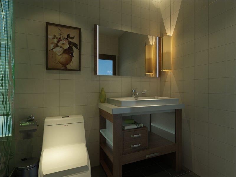 运用灯光和不同的材料将卫生间干湿分区,这样做不仅合理把方便和清洗